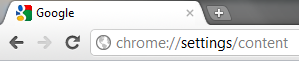 Screenshot showing the Google Chrome addres bar pointing to the Chrome settings screen.