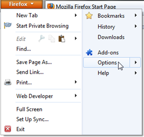 Screenshot of Windows-based Firefox button menu open.  The Options menu item is highlighted.